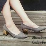 รองเท้าคัทชู ส้นตัน สวยเรียบหรู วัสดุผ้าสักหลาดสีอิ่มสวย ทรงหัวแหลม ดูเท้าเรียว พื้นไม่ลื่น เก๋ตรงส้นสีทอง สูง 2.5 นิ้ว เดินสบาย แมชชุดง่าย ได้ทุกโอกาส สีดำ เทา แดง (F229)