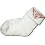ถุงเท้า สีขาว-แดง ลาย Guess 12CM