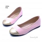 รองเท้าคัชชู ส้นแบน สวยน่ารัก งานหนังพียู ด้านหน้าตัดด้วยสีทอง สวยหวาน ใส่ทำงาน ใส่เที่ยวได้หมด
