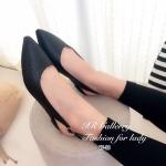 รองเท้าคัทชู ส้นเตี้ย รัดส้น สวยเก๋ วัสดุหนังพียูปั๊มลายหนังสาน ทรงหัวแหลม สายรัดส้นยางยืดกระชับเท้า สวมใส่ง่าย ส้นสูง 1 นิ้ว ใส่สวยลงตัว สีดำ แทน (87-13)