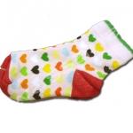 ถุงเท้า สีชมพู-แดง-เขียว-ส้ม ลายหัวใจ 14CM