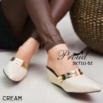รองเท้าแฟชั่น คัชชูส้นสูง สไตล์ Zara เปิดส้น หัวแหลม หนังลายเกล็ด ด้านหน้าแต่งแถบทอง 2 เส้นสวยหรู ส้นสูง 2.5 นิ้ว ใส่สบาย