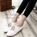 รองเท้าคัทชู ลำลอง แบบเว้าหน้าผูกเชือกสวยเก๋น่ารัก หนัง pvc นิ่ม ซับในนิ่ม ส้นยางกันลื่นหนา 1 ซม. ใส่สวยนำเทรนด์ สี ครีม ชมพู