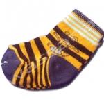 ถุงเท้า สีส้ม-น้ำเงิน ลายเสือ 8CM