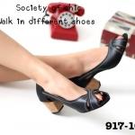 รองเท้าคัชชู ดีไซน์เก๋แบบเปิดหน้า หนังนิ่ม ส้นลายไม้ก๊อก สไตล์วินเทจ สูง 2 นิ้ว น้ำหนักเบา ใส่สบาย สวยเก๋ไม่มีเอาท์
