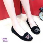 รองเท้าคัทชู ส้นแบน ดีไซน์เก๋ๆ แต่งกลิตเตอร์รูปมิกกี้ มินนี่ สุดน่ารัก ทรงหัวมน สวมใส่ง่าย สบายเท้า สีดำ