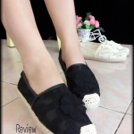 รองเท้าคัทชู Style Valentino พื้นยางอย่างดี แบบน่ารักๆ เก๋ๆ งานลูกไม้ปักลาย สวยน่ารัก ใส่สบาย