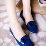 รองเท้าคัทชู ทรงหัวแหลม ส้นเตี้ย ผ้าสักหราดสวยแต่งโบว์ แบบหรูน่ารัก ใส่ทำงาน ใส่เที่ยวได้ทุกโอกาส
