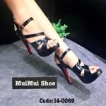 รองเท้าส้นสูง ดีไซน์สุดเริ่่ด รัดข้อ หนังเงาสวยหรู หนังนิ่ม สบายเท้า เสริมหน้า 1.5 นิ้ว ส้นสูง 5 นิ้วสวยเป๊ะ