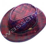 หมวกคาวบอย สีดำ-แดง ลายสก็อตต์