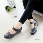 """รองเท้าคัทชูหนังนิ่ม เพื่อสุขภาพ ส้นเตารีด หนังฉลุสวย ด้านข้างงานเย็บขอบเนี้ยบสุดๆ แปะเมจิกเทปปรับได้ ด้านในหนังนิ่ม น้ำหนักเบา ใส่สบายสุดๆ สูง 2.5"""" สีดำ น้ำตาล"""