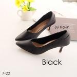 รองเท้าคัชชู สีดำ ปลายแหลม ดีไซน์เรียบหรู เก็บหน้าเท้าเรียว ส้นสูง 2 นิ้ว น้ำหนักเบา ใส่สบายแมทได้สวยทุกชุด