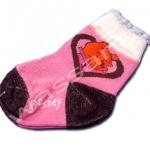 ถุงเท้า สีชมพู-ดำ ลาย Pooh กับหัวใจ 9CM