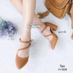 รองเท้าคัชชู หัวแหลม ส้นตัน สวยเก๋ หนัง PU ดีไซน์รัดข้อ เพิ่มความหรูด้วย สายพาดหน้าเท้าอีกเส้น ตะขอแบบเกี่ยวสีทอง ปรับระดับได้ งานสวยมาก สูง 2.2 นิ้ว
