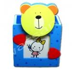 กล่องใส่ดินสอใส่รูปมีคลิปหนีบกระดาษ สีฟ้า ลายหมี