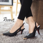 รองเท้าคัทชู หัวแหลม รัดส้น ตรงหัวแต่งอะไหล่ทองเพิ่มความหรู งานสวย style Prada สวยหรู ทรงเป๊ะ ใส่แล้วดูเท้าเรียว สูง 3 นิ้ว