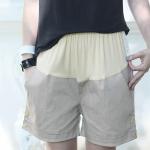 กางเกงคลุมท้อง ปรับระดับ ขาสั้น สีครีม น้ำตาลอ่อน