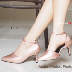 รองเท้าคัทชู Ankle Mid Heel Shoes ส้นสูง รัดส้นสวยเก๋ วัสดุเป็นหนังสีสะท้อน แสง แต่งสายรัดข้อเส้นเล็กดูสวยเพรียว สูง 3 นิ้ว แมทสวยได้ทุกชุด สีดำ ทอง ชมพู แดง (FT114)