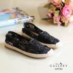 รองเท้าคัทชู ส้นเตี้ย ทรง slip on งานลูกไม้ สวยหวานน่ารักสุดๆ เก็บขอบเรียบร้อย ส้นแต่งเชือกถักวินเทจ แมทเก๋ได้ทุกชุด สีดำ ชมพู เทา ขาว