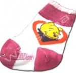 ถุงเท้า สีขาว-ชมพู ลาย Pooh 8CM