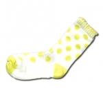 ถุงเท้า สีขาว-เหลือง ลายจุด 16CM