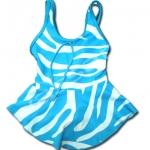 ชุดว่ายน้ำ สีฟ้า-ขาว ลายม้าลาย 4T