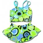 ชุดว่ายน้ำ สีฟ้า-เขียว ลายวงกลม 4T