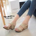 รองเท้าแฟชั่น ลำลอง แบบสวม รัดส้น สายรัดแบบยางยืด กระชับเท้า พื้นนิ่ม ใส่สบายได้ทุกโอกาส สูง 2.5 นิ้ว สีครีม