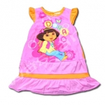 ชุดกระโปรง สีชมพู-ส้ม ลาย Dora กับผีเสื้อ 4T