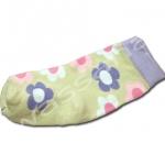 ถุงเท้า สีน้ำตาล-ม่วง ลายดอกไม้ 9CM