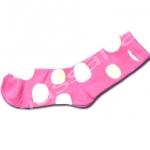 ถุงเท้า สีชมพู-ขาว ลายจุด 18CM