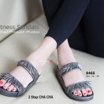 รองเท้าแตะ เพื่อสุขภาพ Fitness Sandals 2 Step Cha Cha สไตล์งานช้อป แบบสวมคาด 2 เส้น แต่งพู่คลิสตัลสวยเก๋ ซับผ้าชามัวร์ใต้พื้นสัมผัสที่ให้ความ อ่อนนุ่มกับผิวเท้า ใส่ได้ทุกโอกาส สีดำ น้ำตาล เทา