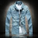พรีออเดอร์ เสื้อเชิ้ตยีนส์ ไซต์ M - 5XL แฟชั่นเกาหลีสำหรับผู้ชายไซต์ใหญ่ แขนยาว เก๋ เท่ห์ - Preorder Large Size Men Size M - 5XL Korean Hitz Long-sleeved Jeans Shirt