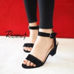 รองเท้าแฟชั่น เรียบหรู รัดข้อ ดีไซน์สายรัดแบบเข็มขัดใช้ตะขอเกี่ยว สวมใส่ง่าย ทรงสวย สไตล์แบรนด์ ส้นหนา สูง 2.5 นิ้ว