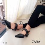รองเท้าคัทชู ส้นเตี้ย รัดส้น Style zara ทรงหัวแหลม วัสดุหนังพียูนิ่ม แต่งสายคาดหน้าเท้า สายรัดส้นยางยืดกระชับเท้า พื้นตี Zara สูง 2 นิ้ว แบบเก๋ๆ ใส่ได้กับเสื้อผ้าทุกชุด สีดำ ครีม (17-165)
