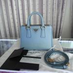 [SOLDOUT]Prada Saffiano Lux สีฟ้านม Astrale Size 20 with strap - พราด้าซัฟเฟียโนมินิ 20 มีสาย พร้อมใบเสร็จ,การ์ด