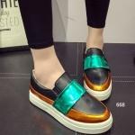 รองเท้าผ้าใบแฟชั่น slip on เสริมส้น สไตล์เกาหลี วัสดุหนัง PU ตกแต่ง ด้านหน้าคาดด้วยผ้าสีสันสดใส ใส่สบายมากๆ สูงหน้า 3 ซม. สูงหลัง 3 ซม.