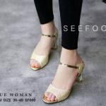 รองเท้าคัชชู ZARA WOMAN STYLE แบบสวม หรูหราด้วยหนังเกล็ดแวววาว สีทอง ส้นเคลือบทองฝังเพชร สูง 2 นิ้ว กำลังดี ทรงเก็บหน้าเท้าดูเท้าเรียว สวยหรูมีสไตล์