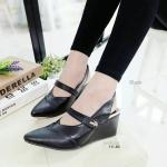 """รองเท้าคัทชูส้นเตารีด หน้าเรียว สวยเรียบหรู รัดส้นยางยืด ใส่ง่าย แปะเมจิก เทปด้านข้าง น้ำหนักเบา สูง 3"""" ใส่สบายทุกโอกาส"""