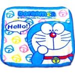 ผ้าเช็ดหน้า สีขาว-ฟ้า ลาย Doraemon Hello