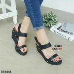 """รองเท้า ส้นเตารีด แบบสวม คาด 2 ตอนสีทูโทน แบบรัดส้น สวยเก๋ งานคุณภาพ สายเมจิกเทป งานสวย ใส่สบาย สูง 3.5"""" สีดำ ชมพู เทา น้ำตาล"""