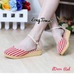 รองเท้าคัทชู รัดข้อเท้า ส้นขนมปัง แบบน่ารัก ลายทางสวยหวาน สายรัดแบบคล้อง สวมใส่ง่าย ส้นหนา 1นิ้ว น่ารักสุดๆ