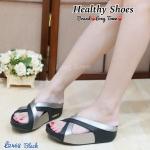 รองเท้าแตะแฟชั่น เพื่อสุขภาพ Cross 2-Tone Fitflop Style ดีไซน์แบบสวม ด้านหน้าไขว้สีทูโทน พื้น Soft Comfort นุ่มใส่สบายเท้า ใส่ได้ตลอด ไม่มีเอาท์