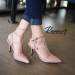 รองเท้าคัทชู ส้นสูง หัวแหลม Style Valentino รุ่นนี้ดีไซน์รัดข้อสูง 3 ตอน สายรัดแบบตะขอเกี่ยว ทรงสวยเปรี้ยว ใครใส่ก็เริ้ด สูง 3 นิ้ว