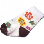 ถุงเท้า สีชมพู-น้ำตาล ลายดอกไม้ 9CM