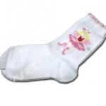 ถุงเท้า สีขาว-ชมพู ลายนางฟ้าหันหน้า 16CM