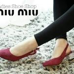 รองเท้าคัทชู สวยเก๋ ส้นเตี้ย สไตล์แบรนด์ดัง Mui Mui สายปรับระดับได้ วัสดุหนังสักหลาดนิ่มดูเรียบหรูดูดี ส้นเงินแต่งลายหรู ใส่สบาย แมทสวย ได้ทุกชุด สี Red wine