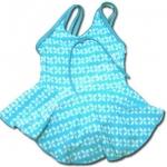 ชุดว่ายน้ำ สีฟ้า-ขาว ลายใบไม้ 4T