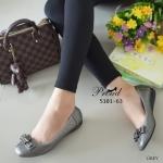 รองเท้าคัทชู ส้้นแบบ สไตล์สาวรักสุขภาพ วัสดุหนังพียูเนื้อนิ่ม พิมพ์ลายตาราง คลาสสิค ขอบเก็บงานสวยไม่กัดเท้า ดีเทลแต่งอะไหล่โบว์ ส้นพียูพื้นเตี้ย น้ำหนัก เบา เก็บหน้าเท้า พื้นบุนวมนุ่ม งานเรียบร้อย แมทง่ายทุกชุด สูง 1 นิ้ว สีดำ เทา