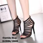 รองเท้าส้นสูง สไตล์เกาหลี สวยเปรี้ยว แบบนำเข้า งานผ้าสักหลาด ดีไซน์ สวมหนังเส้น กระชับเท้า หุ้มจนถึงขัอเท้า มีซิปหลังใส่ง่ายถอดง่าย ส้นเข็ม สูง 4 นิ้ว ทรงสวยเป๊ะ ใส่ขึ้นมาให้ลุคที่ดูเพรียวสุดๆ สีดำ น้ำตาล ครีม แดง
